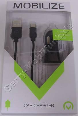 Dual USB KFZ-Ladekabel für BlackBerry KEYone, Autoladekabel von Mobilize, Auto-Netzteil für Zigarettenanzünder mit intelligenter Ladeelektronik, Lieferung mit 1 Meter langem USB Typ-C Kabel das auch als Datenkabel verwendet werden kann. 2,4A gesamt Leistung der USB-Anschlüsse