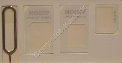 3 in 1 Adapter  plus  Sim-Werkzeug, Adapter: Nano-Sim -> Micro-Sim, Nano-Sim -> Sim ( Mini-sim ), Micro-Sim -> Sim und Öffnungswerkzeug für Simkartenfach für IPhone und Nokia Lumia