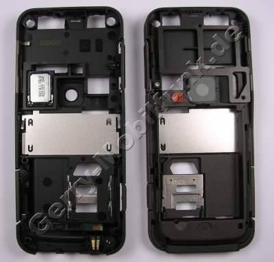 Unterschale, Gehäuserahmen Nokia 6124 classic original B-Cover incl- Ladekonnektor, Kamerascheibe, Simkartenhalten, Lautstärketaste, Einschalttaste, Seitentasten, Speicherkarten Abdeckung, Mikrofon, Bluetooth Antenne