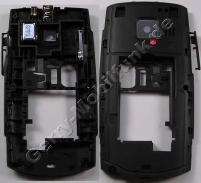 Unterschale, Gehäuseträger schwarz Nokia X2-01 D-Cover incl. Freisprechlautsprecher, Ladebuches, Headset Konnektor, Headsetbuchse, Kamerascheibe, BT-Antenne, Bluetooth USB-Abdeckung , Speicherkartenabdeckung