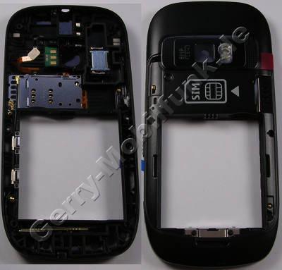 Unterschale schwarz Backcover Nokia C7-00 original B-Cover mit Kamerascheibe satin black incl. Simkartenleser, Freisprechlautsprecher, Blitzlicht, interne Antennen Wlan Bluetooth und GSM, Kamerascheibe, Seitentasten für Lautstärke, Kamera und Sperrtaste, Verriegelungstaste für Tastensperre, Ein/Aus Tastenmatte, USB-Abdeckung, GPS-Antenne