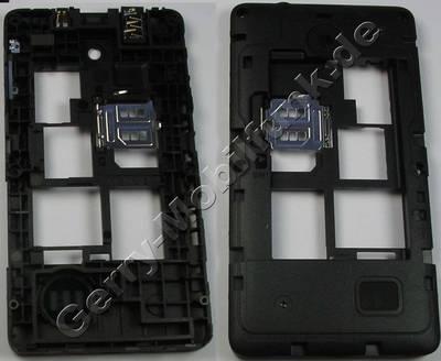 Unterschale, Gehäuseträger Nokia Asha 210 DualSim original D-Cover schwarz incl. Ladebuchse, Ladekonnektor, Headset Konnektor, Kopfhörerbuchse, Simkartenhalter, Bluetooth Antenne, Dichtung Freisprechlautsprecher