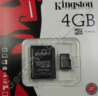 LG P7200 TransFlash Speicherkarte 4GB Kingston mit Adapter zur normalen SD-Karte, micro SD