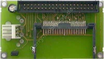 IDE-Adapter für CompactFlash -Speicherkarten. Ermöglicht die Verwendung einer CompactFlash Karte als IDE-Festplatte in Computern. Stromanschluß klein (Platinenmaße 75mm x 45mm)