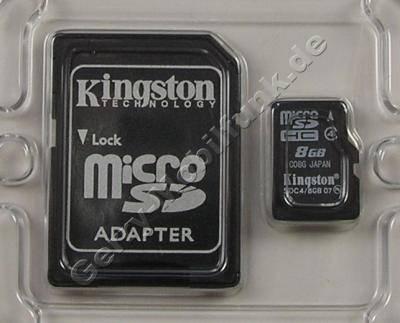 Micro-SDHC Speicherkarte 8GB Kingston mit Adapter zur normalen SD-Karte, micro SD, TransFlash